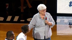 """Former Fever coach Lin Dunn told Catchings that Tennessee coach Holly Warlick and former assistant coach Mickie DeMoss """"treasure you."""" Photo by WTHR TV, Indianapolis."""