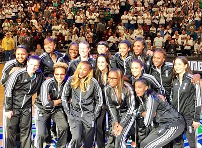 Sixteen of the WNBA's top 20 players of its first 20 years were honored in a halftime ceremony at Sunday's Finals Game 1. Photo courtesy of WNBA.