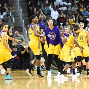 The Los Angeles Sparks celebrate their Game 4 win over the Minnesota Lynx. Photo by Juan Ocampo/NBAE via Getty Images.