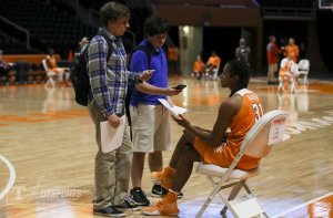 Jaime Nared answers questions for reporters at Tennessee media day. Photo by UT Athletics.