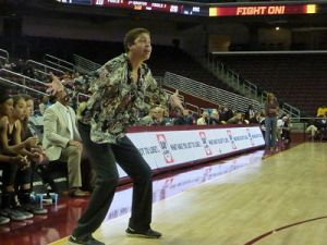 Cheryl Miller questions the play of her athletes. Photo by Sue Favor.