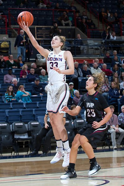 "Katie Lou Samuelson averaged 11 points per game last year, as a freshman, behind UConn's ""big three."" Photo by Stephen Slade."