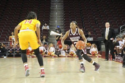 Morgan William tries to get by Sadie Edwards. Photo by Benita West/TGSportsTV1.