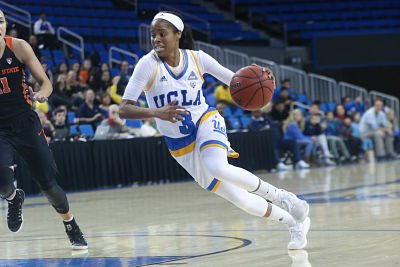 Jordin Canada's speed up the court helped her lead UCLA against OSU with 18 points. Photo by Marvin Jimenez.