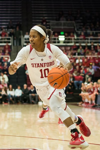 Briana Roberson scored all 14 of her points during the second half of Stanford's comeback win against Washington. Photo by Rahim Ullah.
