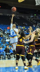 Despite being double-teamed, Jordin Canada puts up two of her 23 points on the night. Photo by Zyaire Porter/TGSportsTV1.