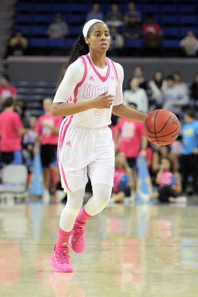 Jordin Canada, recovering from a neck injury earlier in the week, came off the bench to lead UCLA Friday with 22 points. Photo by Ken Brooks/T.G.Sportstv1.