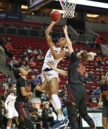 Kristine Anigwe scores two of her game-high 34 points. Photo by Cal.ISIPhotos.com.
