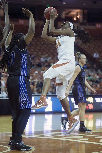 Joyner Holmes has been one of the Big 12's top freshmen this season. Photo by Patrick Meredith/Texas Athletics.