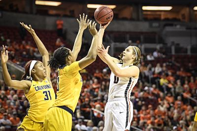 Mikayla Pivec shoots for two of her 17 points against California. Photo by Karl Maasdam.