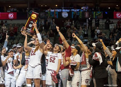 A'ja Wilson and the South Carolina Gamecocks hoist the NCAA Division I National Championship trophy. Photo by Robert L. Franklin.