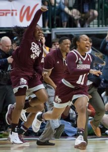 Bulldog players celebrate their Final Four semifinal win. Photo by Robert L. Franklin.