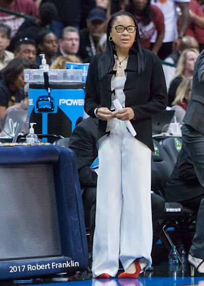 Dawn Staley coaches her South Carolina Gamecocks. Photo by Robert L. Franklin.