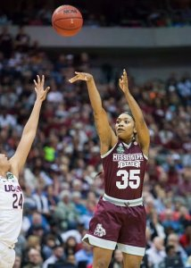 Victoria Vivians launches two of her 19 points on the night. Photo by Robert L. Franklin.