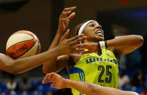 Glory Johnson had a season-high 24 points and 12 rebounds against the Sparks. AP photo by Andy Jacobsohn.