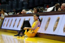 Candace Parker waits to be subbed into the game. Photo by Maria Noble/WomensHoopsWorld.