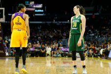 Candace Parker and Breanna Stewart share a laugh. Photo by Maria Noble/WomensHoopsWorld.