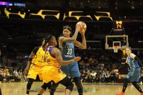 Seimone Augustus is defended by Riquna Williams. Photo by Benita West/TGSportsTV1.