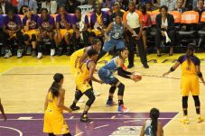 Maya Moore is double-teamed. Photo by Benita West/TGSportsTV1.