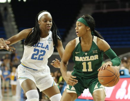 Kennedy Burke guards Alexis Morris. Photo by Maria Noble/WomensHoopsWorld.