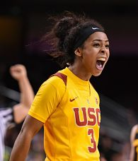 Minyon Moore averaged 11.7 points per game for USC last year as a freshman. She was named to the Pac-12 All-Freshman Team. Photo courtesy of USC Athletics.