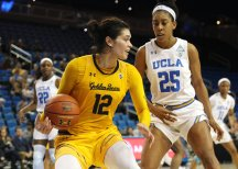 Penina Davidson looks for an outlet. Photo by Maria Noble/WomensHoopsWorld.