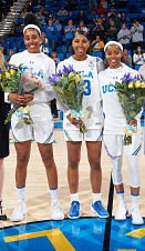 Monique Billings, Kelli Hayes and Jordin Canada are honored on Senior Day Saturday at Pauley Pavilion. Photo by Don Liebig/ASUCLA.