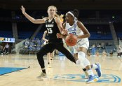 Kennedy Burke is defended by Annika Jank. Photo by Maria Noble/WomensHoopsWorld.