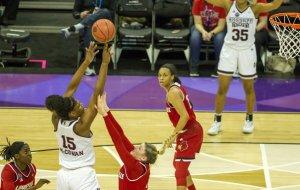 Teaira McCowan elevates to score 2 of her 21 points on the night.  Photo by Jamie Thompson/T.G.Sportstv1.