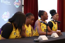 Nneka Ogwumike and Odyssey Sims share a laugh. Photo by Maria Noble/WomensHoopsWorld.