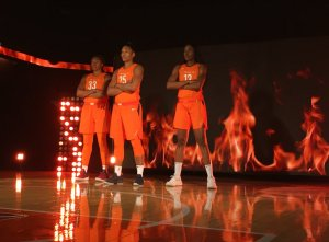Morgan Tuck, Alyssa Thomas and Chiney Ogwumike during shooting of the Connecticut Sun's player introduction video at media day last week. Photo courtesy of the Connecticut Sun.