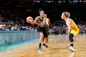 Bria Hartley's quickness is an asset for the Liberty. Photo by MSG Networks.