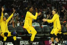 The Sparks bench exults over a three-point shot. Maria Noble/WomensHoopsWorld.