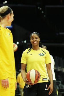 Sydney Wiese and Jordin Canada talk and laugh in pre-game warm ups. Maria Noble/WomensHoopsWorld.