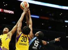 Alana Beard, Nneka Ogwumike and Tiffany Hayes battle for ball possession. Photo by Maria Noble/WomensHoopsWorld.
