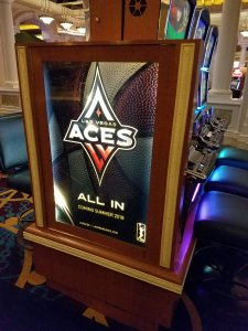The Las Vegas Aces logo incorporates both elements of the WNBA and the city. Photo by Lisa Campos.