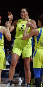 Liz Cambage, averaging a double-double so far this season, has given Dallas a paint presence they have not had before. Photo courtesy of Dallas Wings.
