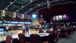 Minnesota players warm up prior to their match up with the Liberty. Photo by Jim Clark.