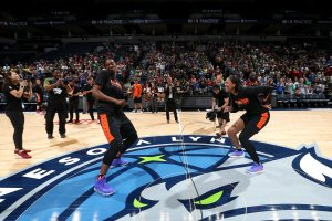 """Sylvia Fowles and A'ja Wilson have a """"dance off"""" to end practice. Photo courtesy of Las Vegas Aces."""