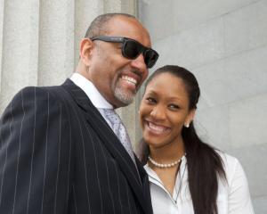 A';ja Wilson and her father, Roscoe Wilson. Photo courtesy of South Carolina Athletics.