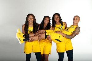 From left to right, rookies Victoria Vivians, Kelsey Mitchell and Stephanie Mavunga, with veteran Candice Dupree. Photo courtesy of Indiana Fever.