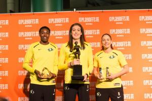 Natasha Howard, left, holds the Most Improved Player award; Breanna Stewart with the MVP trophy; and Sue Bird displays the Kim Perrot Sportsmanship award. Photo courtesy of Seattle Storm.