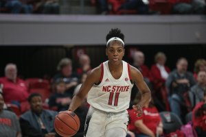 Kiara Leslie had a double-double in North Carolina State's win Sunday, to cap off a strong week. Photo courtesy of North Carolina Athletics.