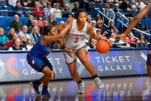 Megan Walker withstands tough defense. Photo courtesy of UConn Athletics.