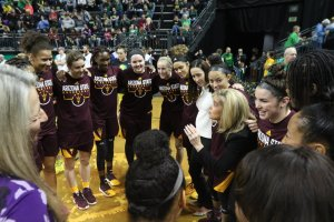 Charli Turner Thorne speaks to the team before tipoff. Photo courtesy of Sun Devil Athletics.