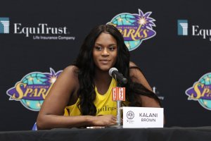Tuesday, May 14, 2019 - Kalani Brown attends the Los Angeles Sparks Media Day in Los Angeles, California. (Maria Noble/BNP Paribas Open).