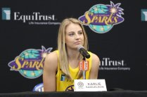 Tuesday, May 14, 2019 - Karlie Samuelson attends the Los Angeles Sparks Media Day in Los Angeles, California. (Maria Noble/WomensHoopsWorld).