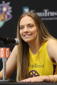 Tuesday, May 14, 2019 - Sydney Wiese attends the Los Angeles Sparks Media Day in Los Angeles, California. (Maria Noble/BNP Paribas Open).