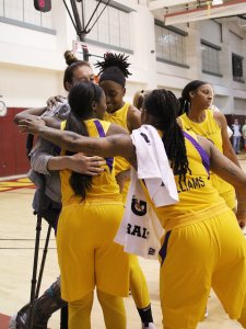 Friday, May 17, 2019 - Los Angeles Sparks players give Storm forward Breanna Stewart a hug after their game. Maria Noble/WomensHoopsWorld.