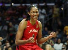 A'ja Wilson celebrates a basket. Maria Noble/WomensHoopsWorld.